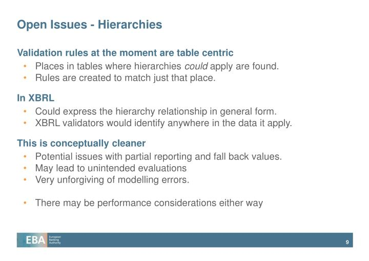 Open Issues - Hierarchies