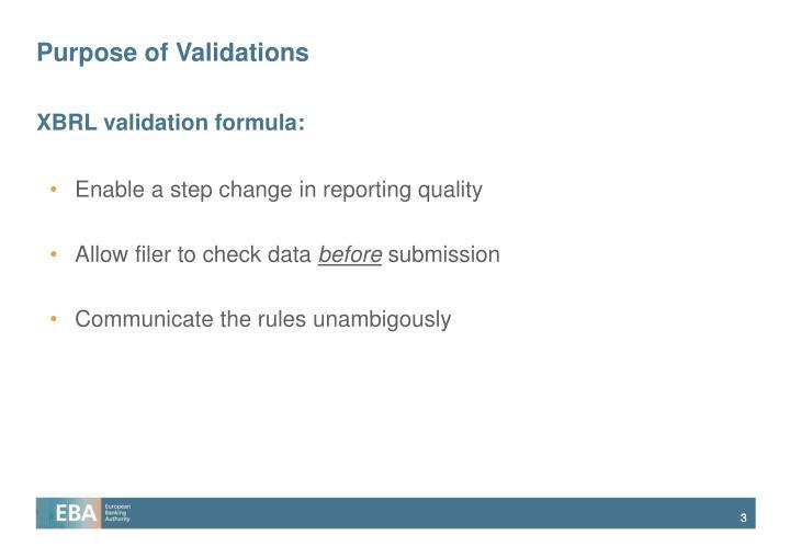 Purpose of validations