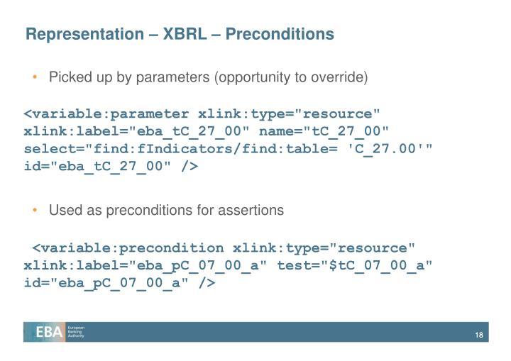 Representation – XBRL – Preconditions
