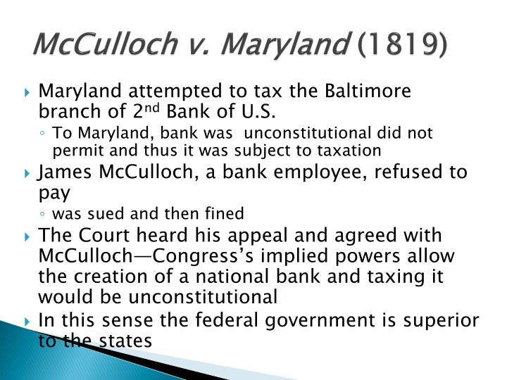 a case study of mcculloch and maryland in 1819