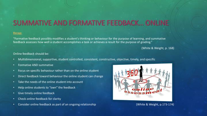 summative and formative Feedback… Online