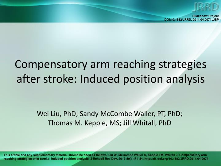 compensatory arm reaching strategies after stroke induced position analysis n.