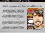 nme language and commercial elements