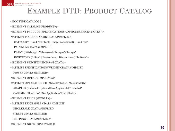 Example DTD: Product Catalog