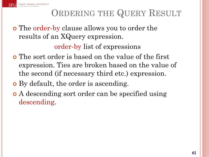 Ordering the Query Result