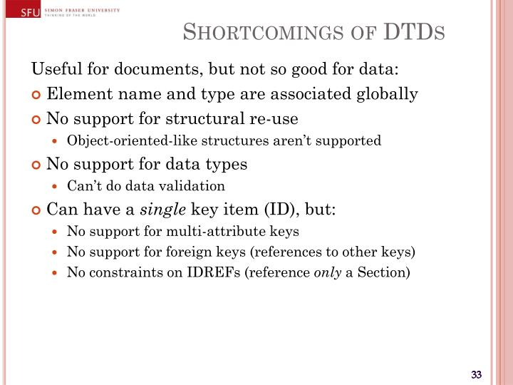 Shortcomings of DTDs