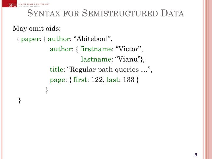 Syntax for Semistructured Data