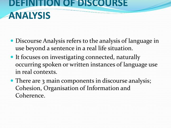 DEFINITION OF DISCOURSE ANALYSIS