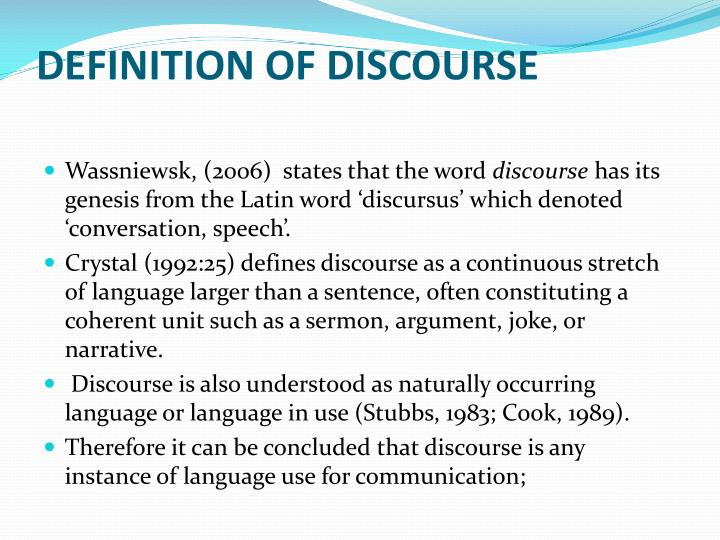 DEFINITION OF DISCOURSE
