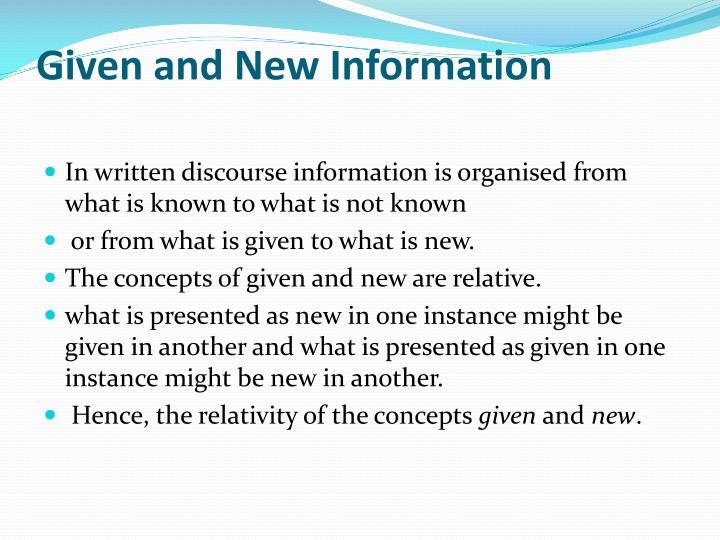 Given and New Information