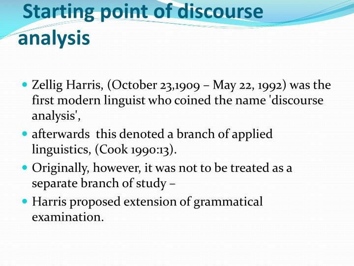 Starting point of discourse analysis