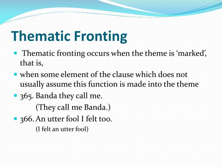 Thematic Fronting
