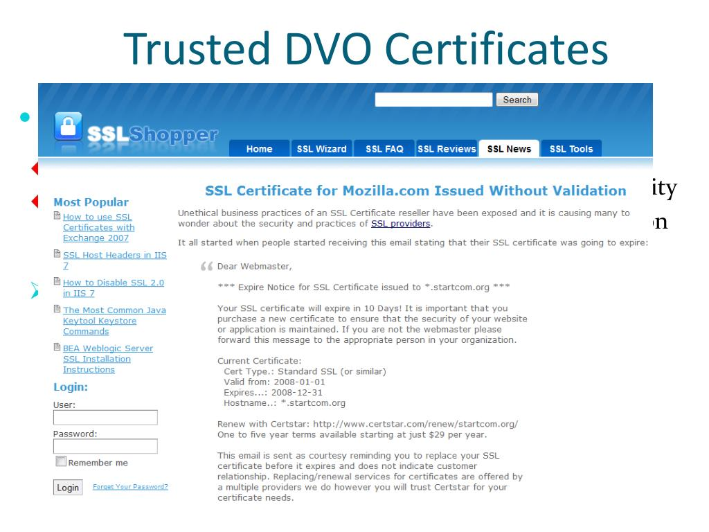PPT - The Inconvenient Truth about Web Certificates