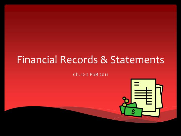 financial records statements n.