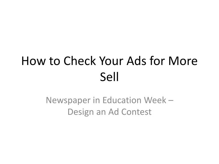 how to check your ads for more sell n.