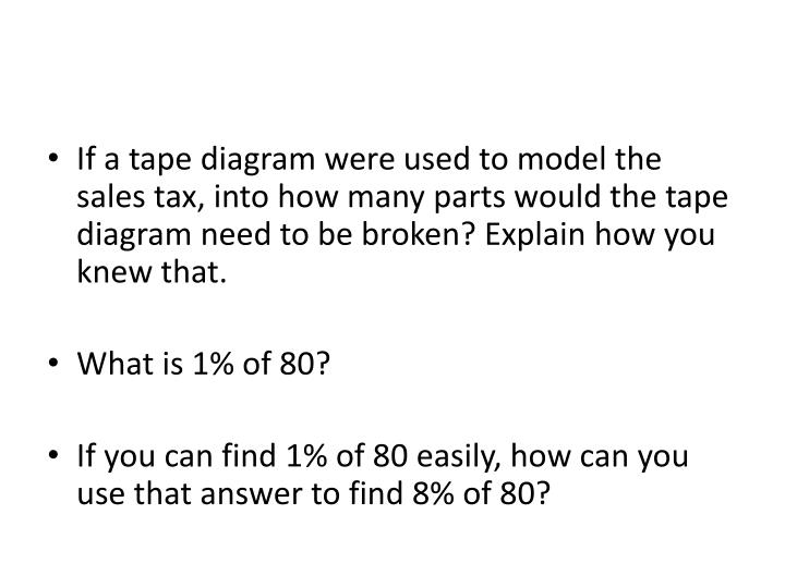 If a tape diagram were used to model the sales tax, into how many parts would the tape diagram need to be broken? Explain how you knew that.