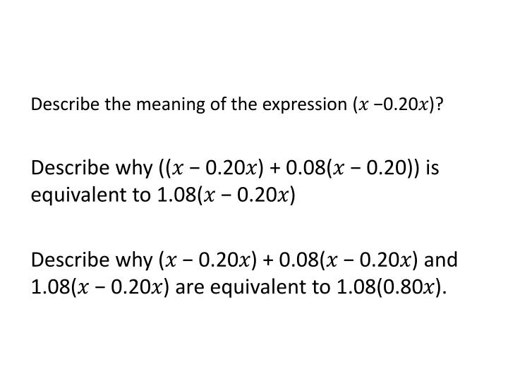 Describe the meaning of the expression (𝑥 −0.20𝑥)?