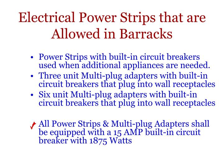 Electrical Power Strips that are Allowed in