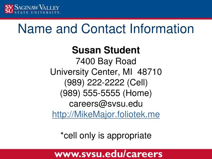 Name and Contact Information