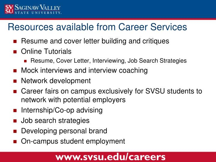 Resources available from Career Services