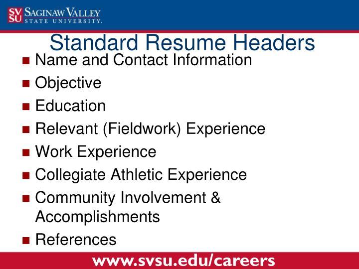 Standard Resume Headers