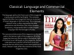 classical language and commercial elements