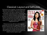 classical layout and sell lines