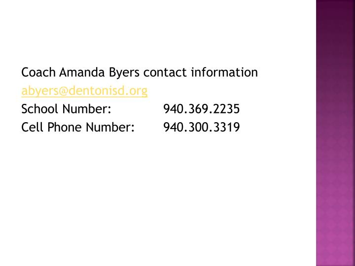 Coach Amanda Byers contact information