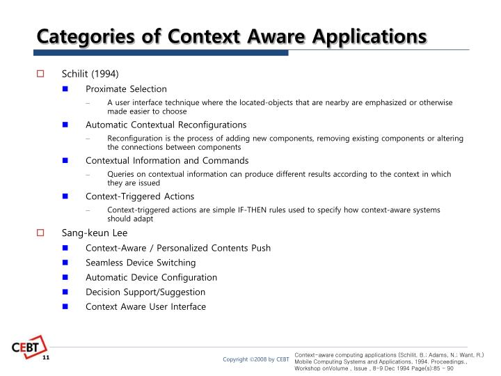Categories of Context Aware Applications
