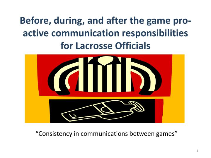 before during and after the game pro active communication responsibilities for lacrosse officials n.