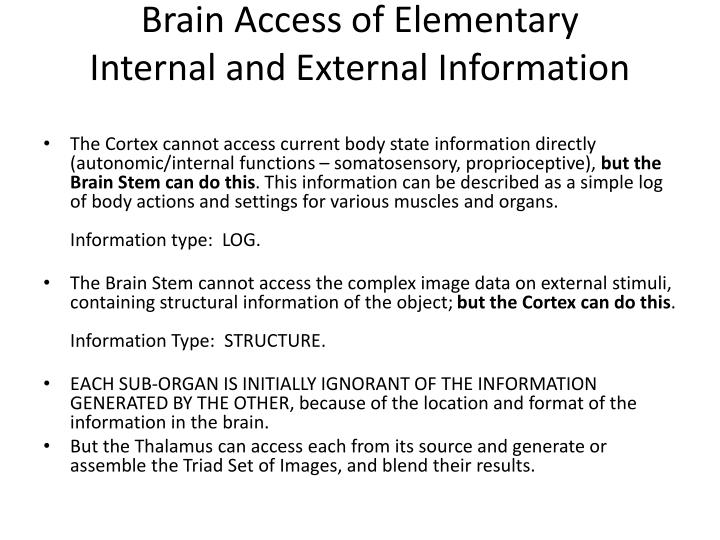 Brain Access of Elementary