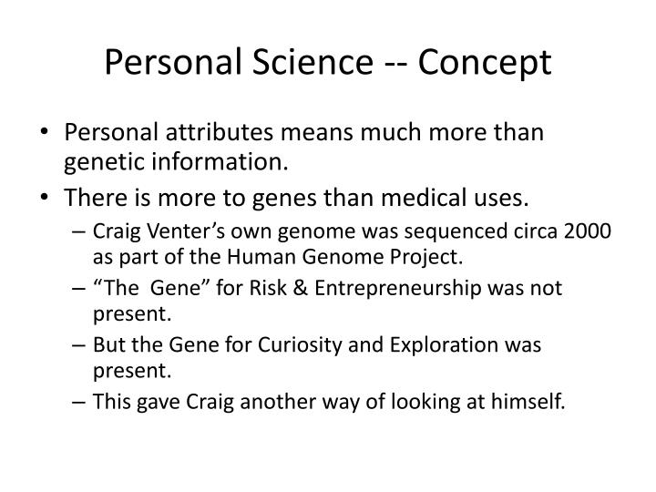Personal Science -- Concept