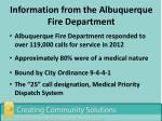 information from the albuquerque fire department