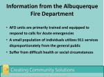 information from the albuquerque fire department1