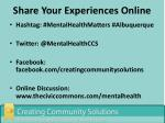 share your experiences online