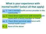 what is your experience with mental health select all that apply