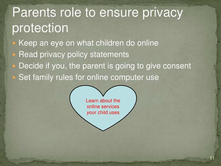 Parents role to ensure privacy protection