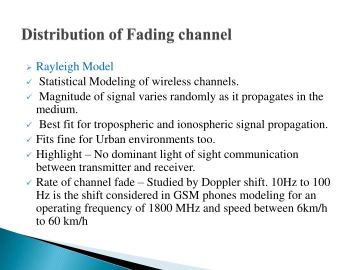 Distribution of Fading channel