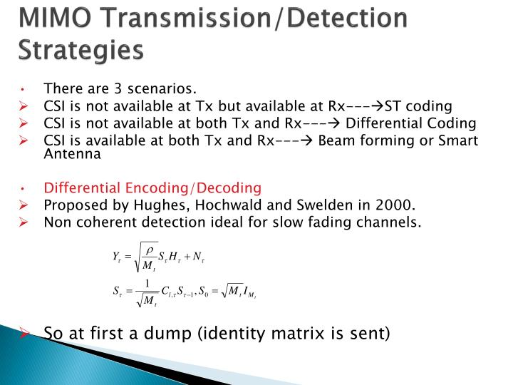 MIMO Transmission/Detection Strategies