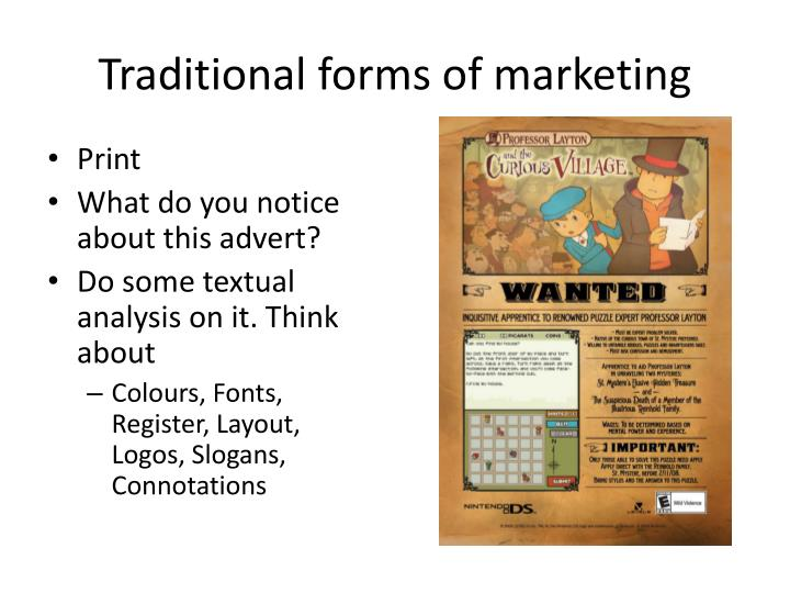 Traditional forms of marketing