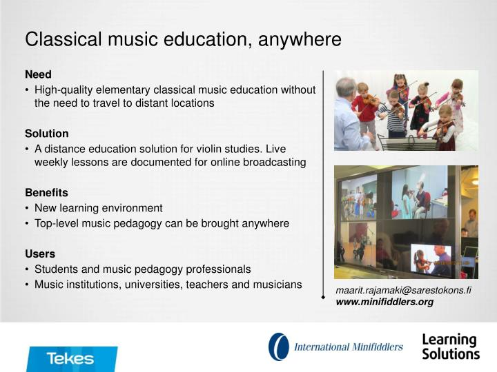 Classical music education, anywhere
