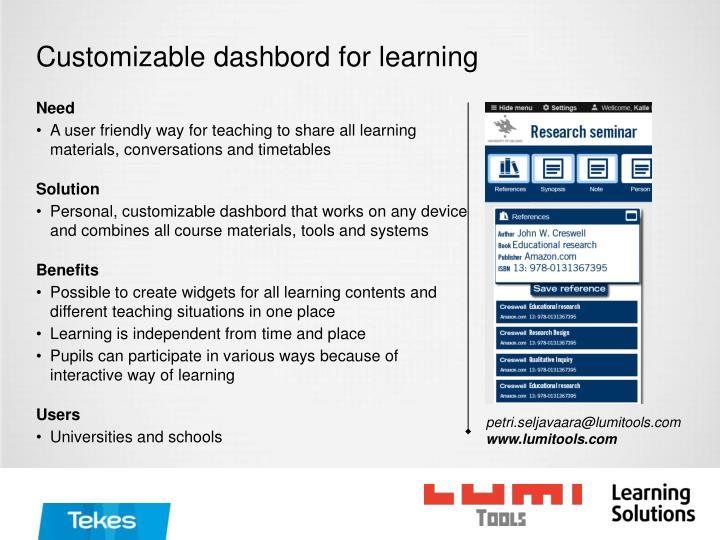 Customizable dashbord for learning