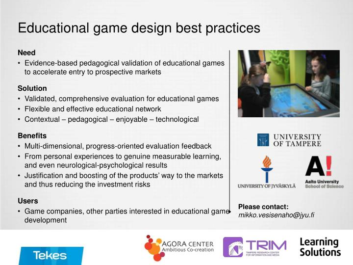 Educational game design best practices