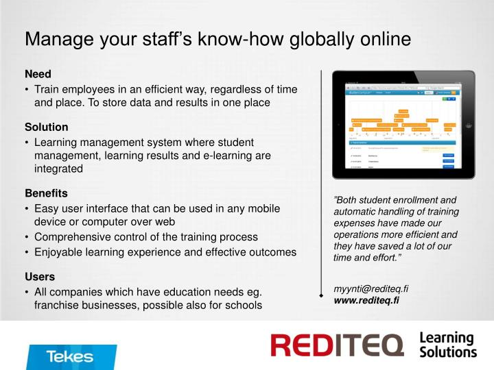Manage your staff's know-how globally online
