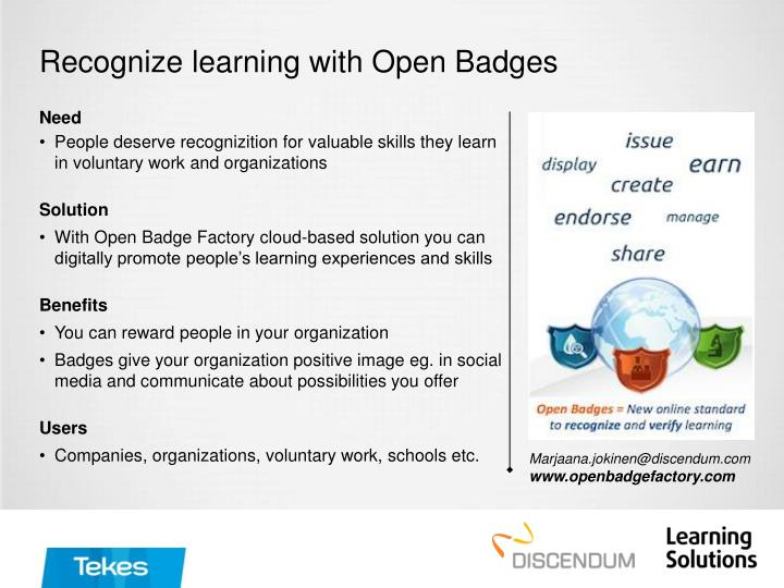 Recognize learning with Open Badges