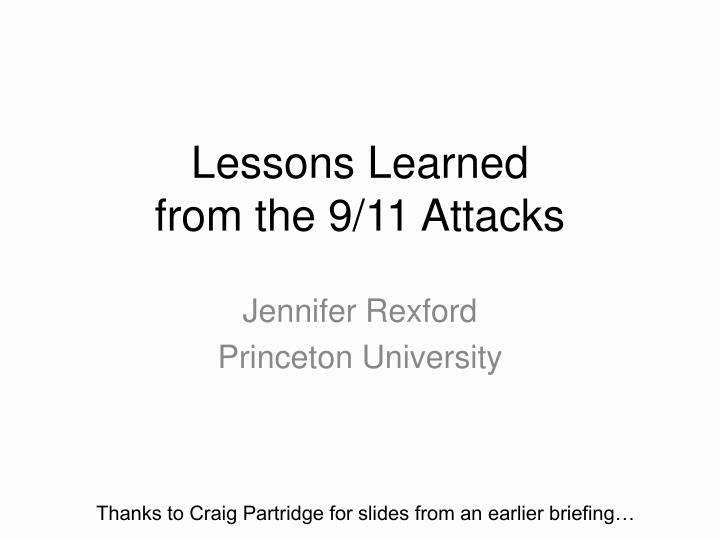 lessons learned from the 9 11 attacks n.