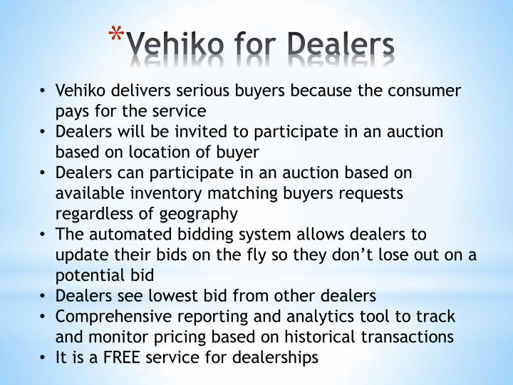 Vehiko for Dealers