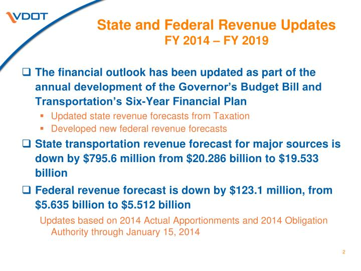 State and federal revenue updates fy 2014 fy 2019