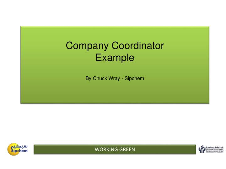 company coordinator example by chuck wray sipchem n.