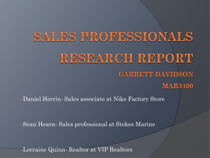 sales professionals research report garrett davidson mar3400 n.